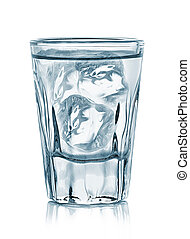 vetro, vodka, bianco, isolato, fondo