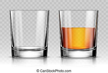 vetro, vuoto, whisky, pieno