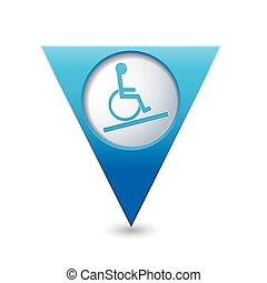 vett, pekare, ikon, handikapp, karta