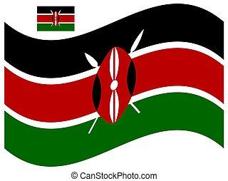 vettore, 10, illustrazione, bandiera, eps, onda, kenia