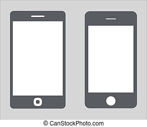 vettore, 10, set, silhouette, tavoletta, varietà, mobile, schermo, moderno, isolato, illustrazione, eps, pc, smartphone, nero, fondo., vuoto, bianco, 3., icona