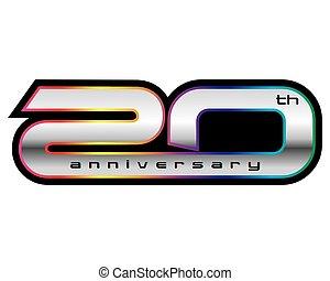 vettore, 20, anniversario, concetto, anni
