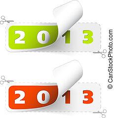 vettore, 2012, /, 2013, anno nuovo, adesivi