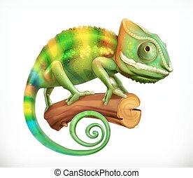 vettore, 3d, chameleon., icona