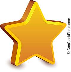 vettore, 3d, dorato, stella