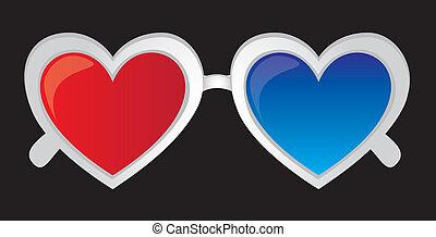 vettore, 3d, heartshaped, occhiali