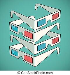 vettore, 3d, illustrazione, occhiali