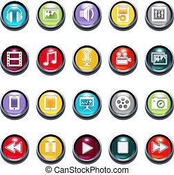 vettore, 3d, multimedia, smussatura, icone