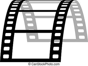 vettore, 3d, striscia cinematografica