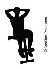 vettore, abs, silhouette, uomo
