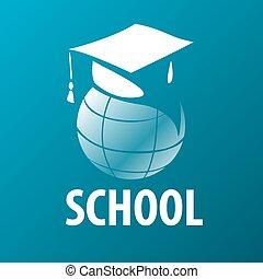 vettore, accademico, globo, berretto, logotipo