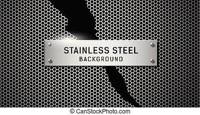 vettore, acciaio inossidabile, strappato, su, sfondo nero