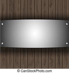 vettore, acciaio, piastra, su, cartoline legno, per, tuo, disegno