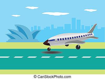 vettore, aeroplano, australia, atterraggio, illustrazione
