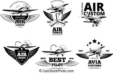 vettore, aeroplano, etichette, emblemi