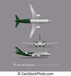 vettore, aeroplano, set, isolato, illustrazione