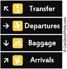 vettore, aeroporto, segni