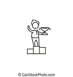 vettore, affari, colpi, vincitore, editable, illustrazione, segno, fondo, icona, linea