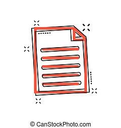 vettore, affari, concept., effetto, illustrazione, segno, nota, cartone animato, schizzo, carta, comico, documento, style., pagina, pictogram., icona