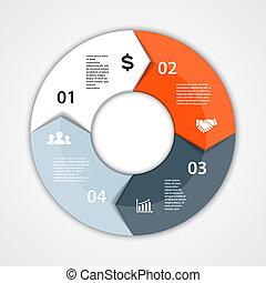 vettore, affari, diagramma, infographic, cerchio, presentazione