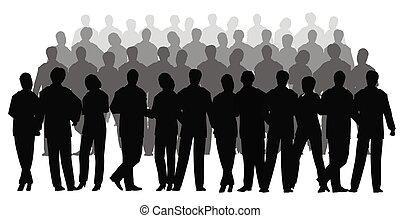 vettore, affari, folla