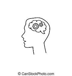 vettore, affari, nero, cervello, icona, ingranaggio, testa, uomo, silhouette, linea
