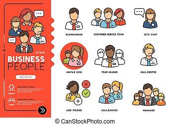 vettore, affari persone, icone
