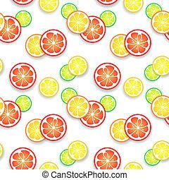 vettore, agrume, succoso, illustrazione, fondo., frutta, disegno, fresco, tuo