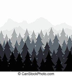 vettore, albero, astratto, pattern., seamless, pino, legnhe, foresta, fondo