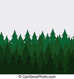 vettore, albero, astratto, pattern., seamless, pino, legnhe, foresta verde, fondo