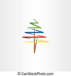 vettore, albero, colorito, clipart, icona