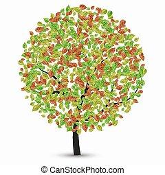 vettore, albero, con, foglie, su, uno, bianco