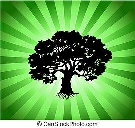 vettore, albero, con, verde, scoppio, fondo