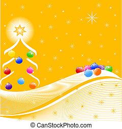 vettore, albero, decorazioni, illustrazione, natale
