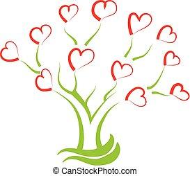 vettore, albero, pieno, cuori, creativo