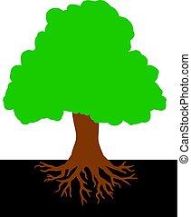 vettore, albero, radici, illustrazione