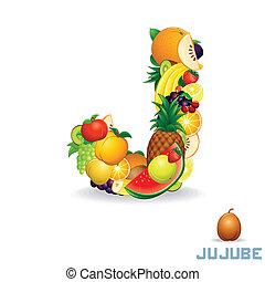 vettore, alfabeto, fruit., j, lettera