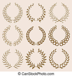 vettore, alloro, wreaths., set, oro