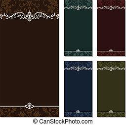 vettore, alto, ornamentale, cornice, set