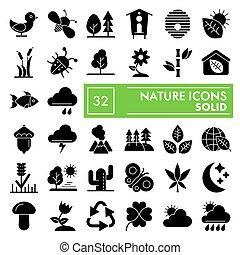 vettore, ambiente, illustrazioni, collezione, 10., conservazione, set, natura, isolato, pacchetto, simboli, solido, fondo, eps, pictograms, segni, logotipo, bianco, icona, disegni, glyph