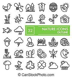 vettore, ambiente, illustrazioni, collezione, 10., lineare, conservazione, set, natura, linea, isolato, pacchetto, simboli, fondo, pictograms, segni, logotipo, bianco, eps, disegni, icona