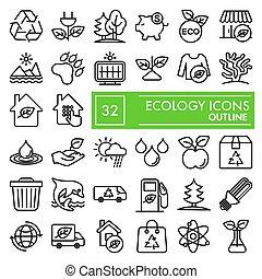 vettore, ambiente, illustrazioni, ecologia, 10., lineare, natura, set, pacchetto, linea, isolato, eps, simboli, collezione, fondo, pictograms, segni, logotipo, bianco, disegni, icona