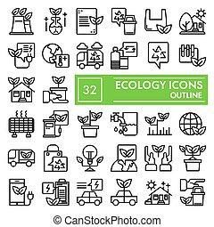 vettore, ambiente, illustrazioni, ecologia, 10., lineare, pacchetto, set, collezione, linea, isolato, eps, simboli, eco, fondo, pictograms, segni, logotipo, bianco, disegni, icona