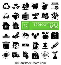 vettore, ambiente, illustrazioni, ecologia, 10., natura, set, pacchetto, isolato, eps, simboli, solido, fondo, pictograms, segni, logotipo, bianco, icona, disegni, collezione, glyph