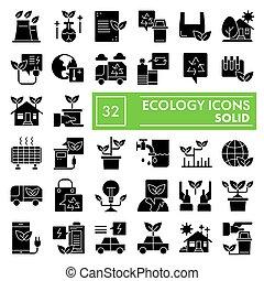vettore, ambiente, illustrazioni, ecologia, 10., pacchetto, set, solido, isolato, eps, simboli, eco, fondo, pictograms, segni, logotipo, bianco, icona, disegni, collezione, glyph