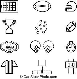 vettore, americano, set, football., icone