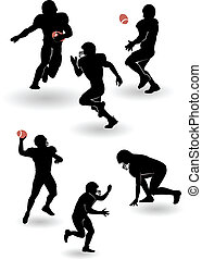 vettore, americano, set, silhouette, football