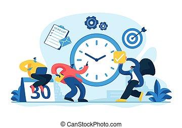 vettore, amministrazione, concetto, illustrazione, tempo