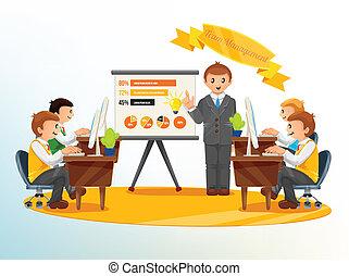 vettore, amministrazione, illustrazione, squadra