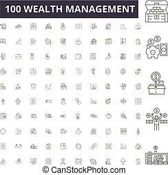 vettore, amministrazione, ricchezza, set, icone, illustrazione, concetto, linea, segni, contorno